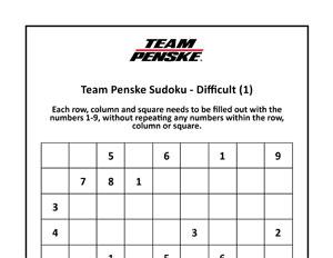 Team Penske Advanced Sudoku 1