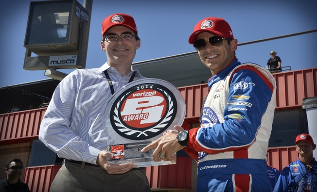 Castroneves Wins Final Verizon P1 Pole Award of 2014