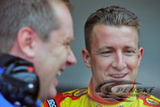 Allmendinger and crew chief Todd Gordon enjoy a laugh during Preseason Thunder